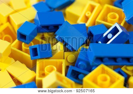Sofia, Bulgaria - March 15, 2015: yellow and blue LEGO blocks colors of the Ukraine national flag
