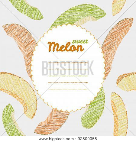 Text frame. Autumn melon backdrop. Endless harvest texture, repeating fruit background.