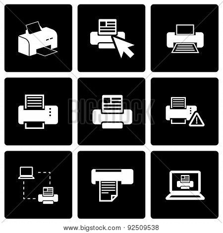 Vector black printer icon set