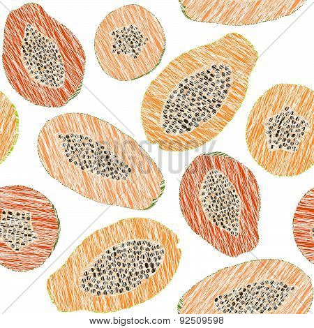 Harvest ornament. Endless papaya texture. Seamless fruit background.
