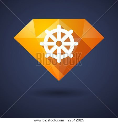 Diamond Icon With A Dharma Chakra Sign