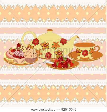 Vector composition teapot and Cup  in a lace frame. All items are isolated.