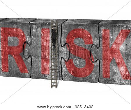Man Climbing Ladder Puzzles Concrete Wall Red Risk Word