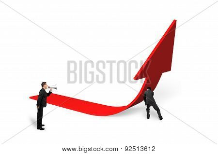 Boss Yelling At Employee Pushing Red Trend 3D Arrow Upward