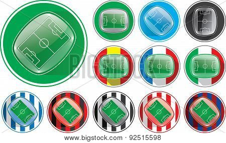Vector illustration of realistic soccer stadium button, different variables, clubs, nations