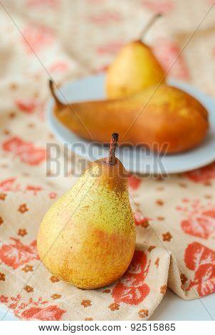 Fresh Pears On Plate