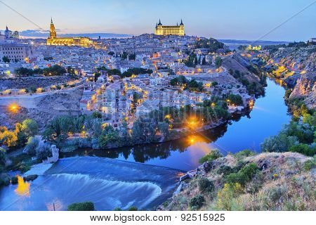Toledo in the evening with picturesque bend of river