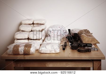 Contraband on table in room