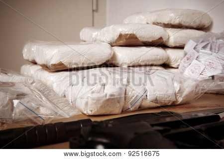 Drug packages on table in room