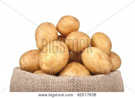 Potatoes In The Bag Isolated On White Background. Close-up