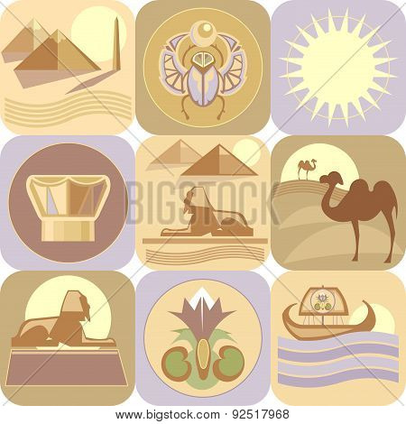 Egypt, landmarks, vector icons