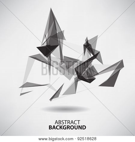 Abstract black and white background with triangles on theme digi