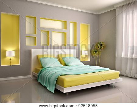 3D Illustration Of Modern Bedroom Interior With Yellow Bed And Niches