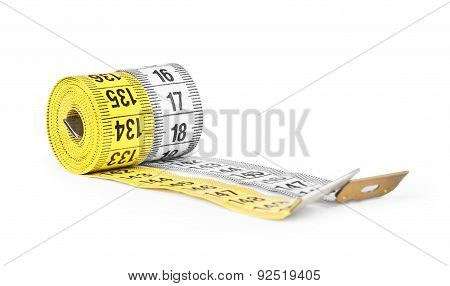 Yellow And White  Measuring Tape Isolated On A White Background