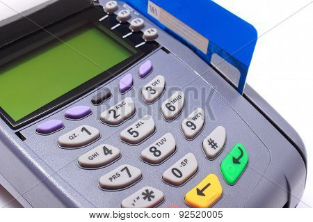 Payment Terminal With Credit Card On White Background