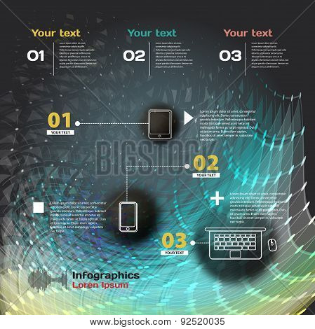 infographics with sound waves on a dark background on theme digi