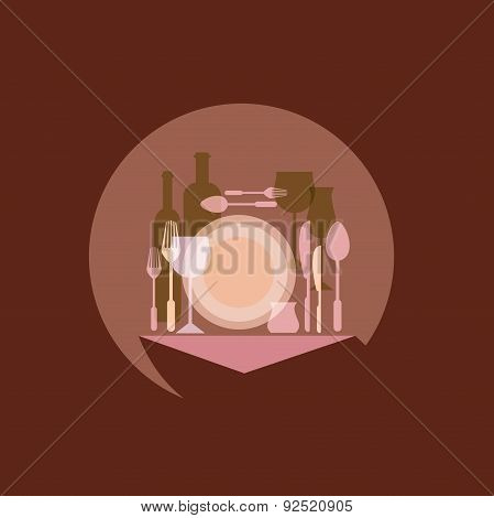 Restaurants and cafes, table appointments, vector concept