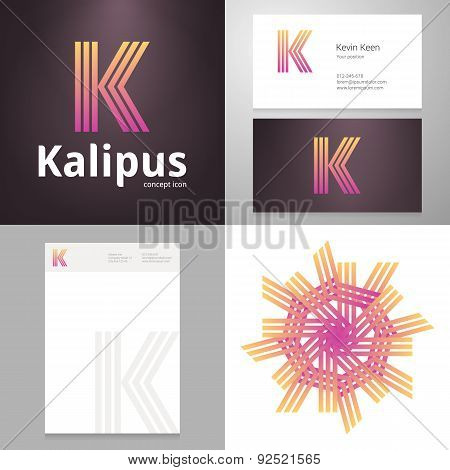 Design Icon K Element With Business Card And Paper Template