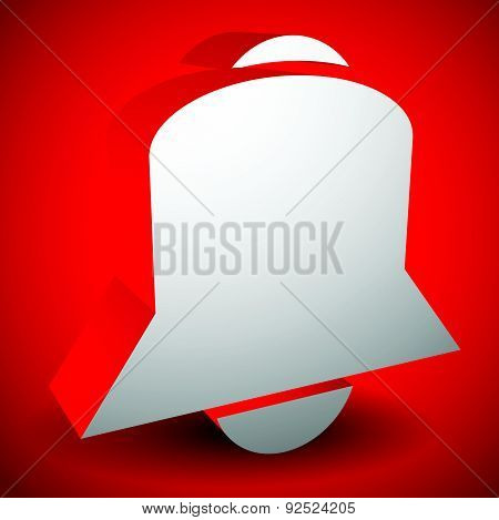 3D Bell Vector. Alarm, Siren, Notification Icon.