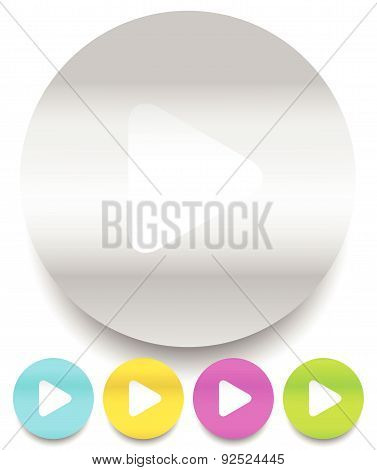 Play Buttons / Icons Isolated On White In 5 Colors, Vector
