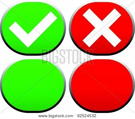 Check Mark And Cross Buttons / Icons. Vector.