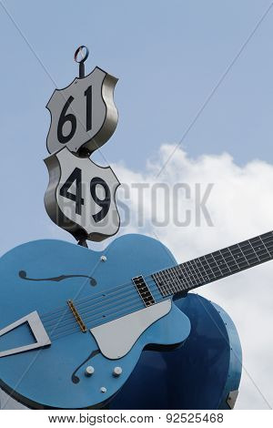 Guitars Show The Junction Of Us 61 And Us 49 In Clarksdale