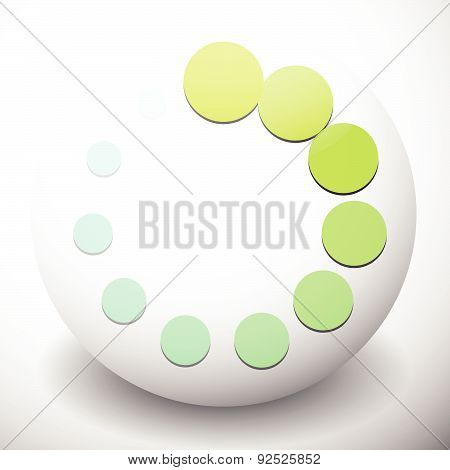 Dotted Preloader (buffer) Shape On Sphere, Editable Vector. Circular Dots. Generic Icon.