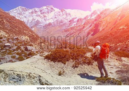 Hiking Photographer Taking Pictures