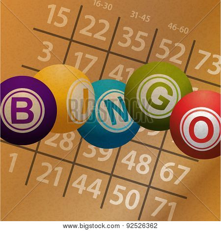 Bingo Balls And Numbers On Brownpaper Background