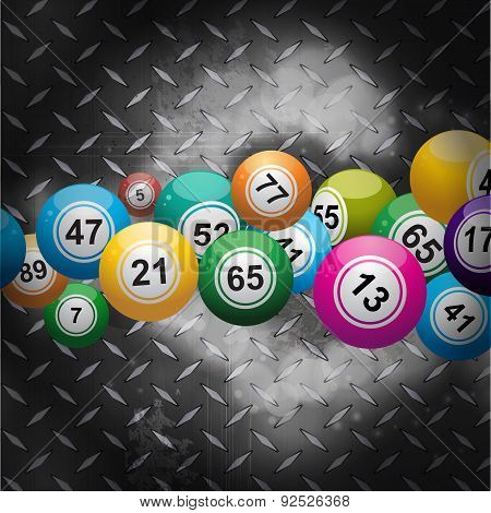 Bingo Balls Over Metallic Diamond Plate