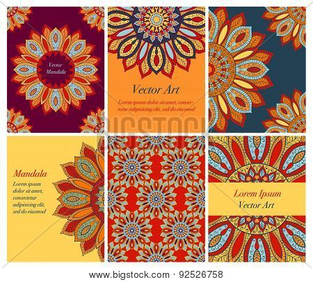 6 Yellow-red Cards With Mandala