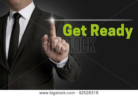 Get Ready Touchscreen Is Operated By Businessman