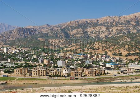View to the town of Yasuj with the mountains at the background in Yasuj, Iran.