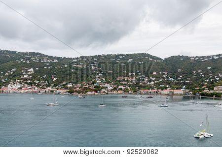 Sailboats And Yachts In Bay Off St Thomas
