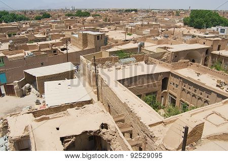 View to the roofs of the old buildings in the historical part of the Yazd city, Iran.