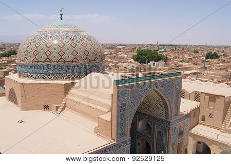 View to the cupola of the Jameh mosque in Yazd, Iran.