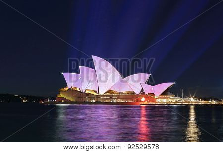 Light Beams Project Soft Pastel Colours Onto Sydney Opera House
