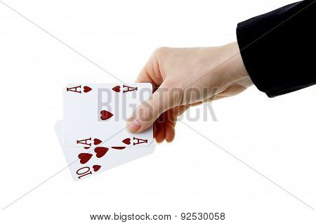 Hand Holding Best Classic Blackjack Combination Ten And Ace Of Hearts