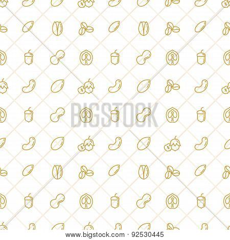 Nuts Seamless Pattern - Stock Vector.