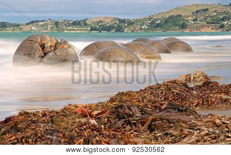 Moeraki Boulders near Hampden, New Zealand - long time exposure