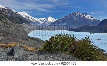 View over Tasman Lake with Tasman glacier, New Zealand