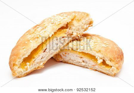 Cut Fresh Puff Pastry With Chicken Isolated