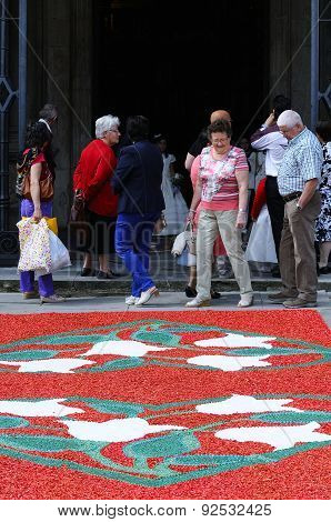 The Village Of Pravia In Asturias With Floral Carpets To Celebrate Corpus Christi.