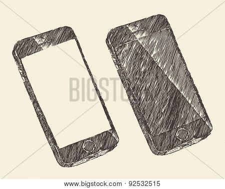 Hand Drawn Black Mobile Phone Vector Sketch