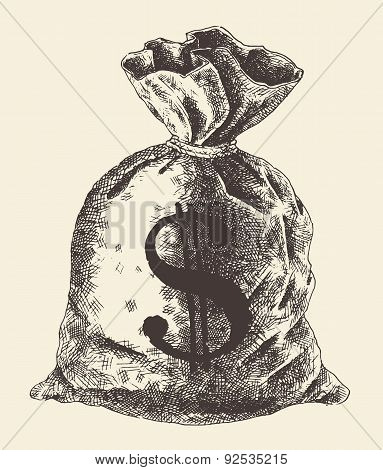 Money Bag Vintage Engraved Illustration Vector