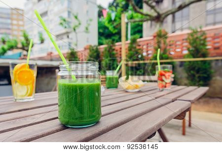 Green vegetable smoothies and infused fruit water cocktails