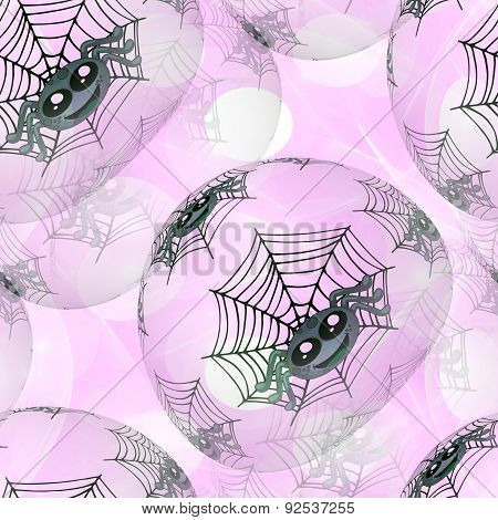 Seamless Background Or Texture With Spiders And Cobweb