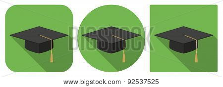 Icon Of Academic Cap In Flat Design