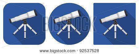 Icon Of Telescope In Flat Design