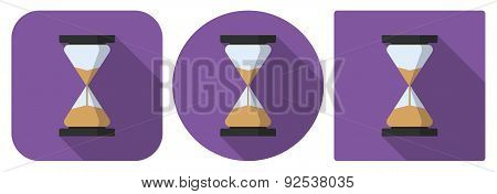 Icon Of Sandglass In Flat Design